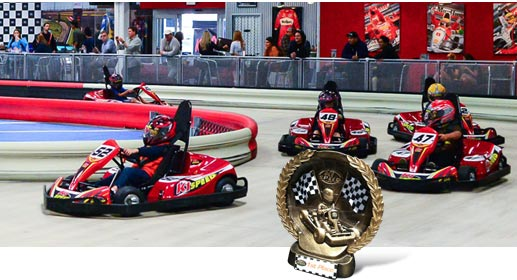 Free helmet rental 15% off food and beverage in the café/lounge and pro shop This go-karting facility in Sandy has eco-friendly electric karts reaching speeds up to 45 mph. Enjoy karting for adult and kids, perfect for birthday parties, corporate events, leagues, and adult birthday parties.