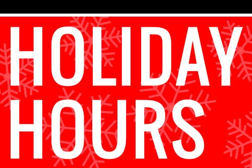 Special Holiday Hours K1 Speed K1 Speed