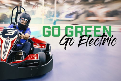 Featured image for blog post about electric vs gas karts features go kart and text