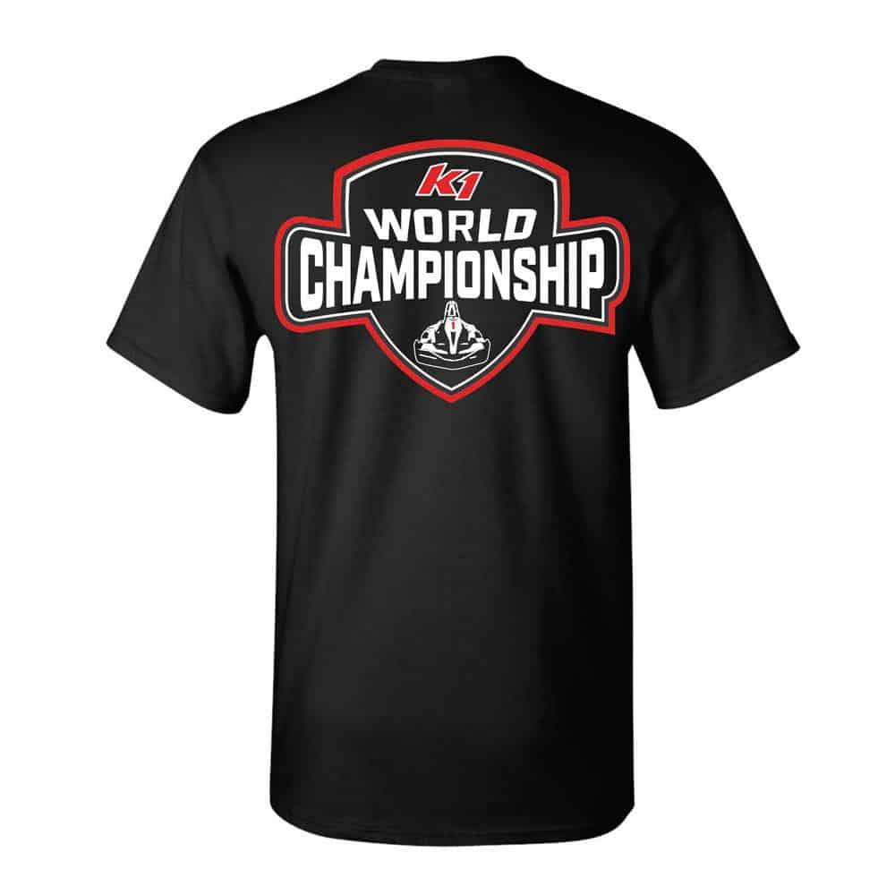 black shirt featuring logo of world championship