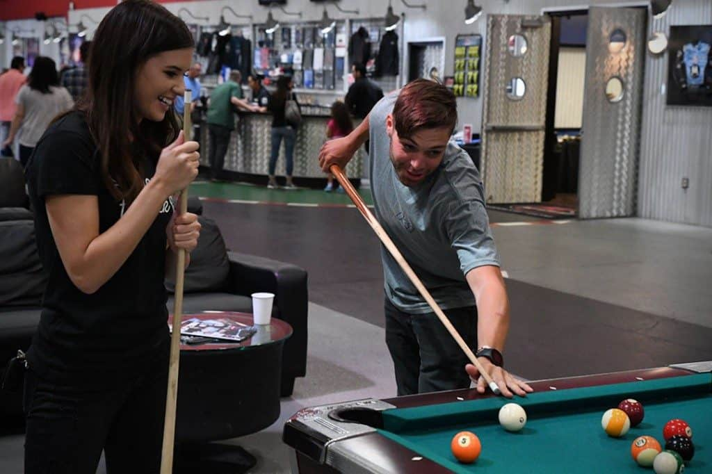 k1 speed couple playing pool