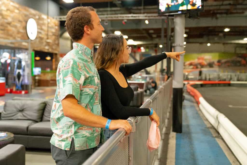 Visitors at K1 Speed Irvine watch racers from trackside