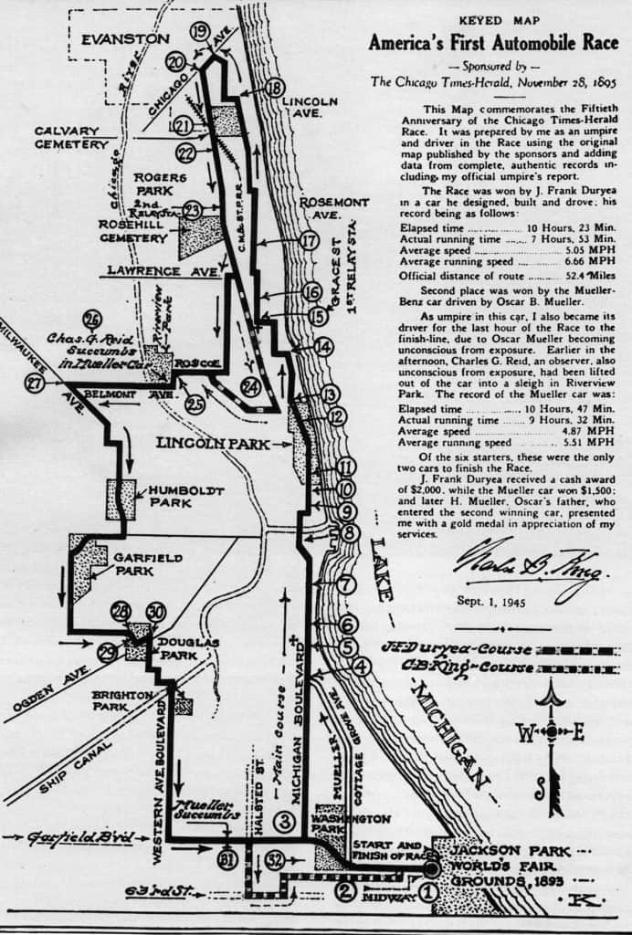 the map of the 1895 race from Chicago to Evanston