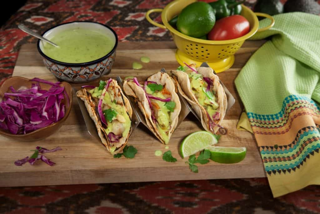 Photo of tacos with guacamole salsa