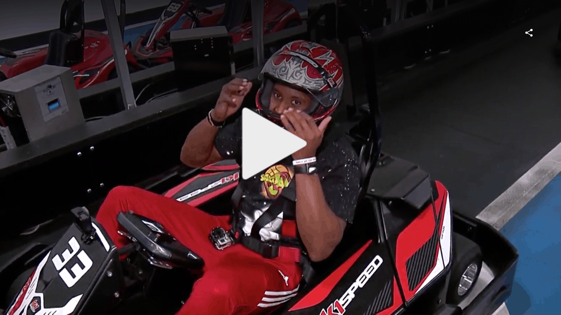 Courtland Sutton sits in a go kart at K1 Speed Denver