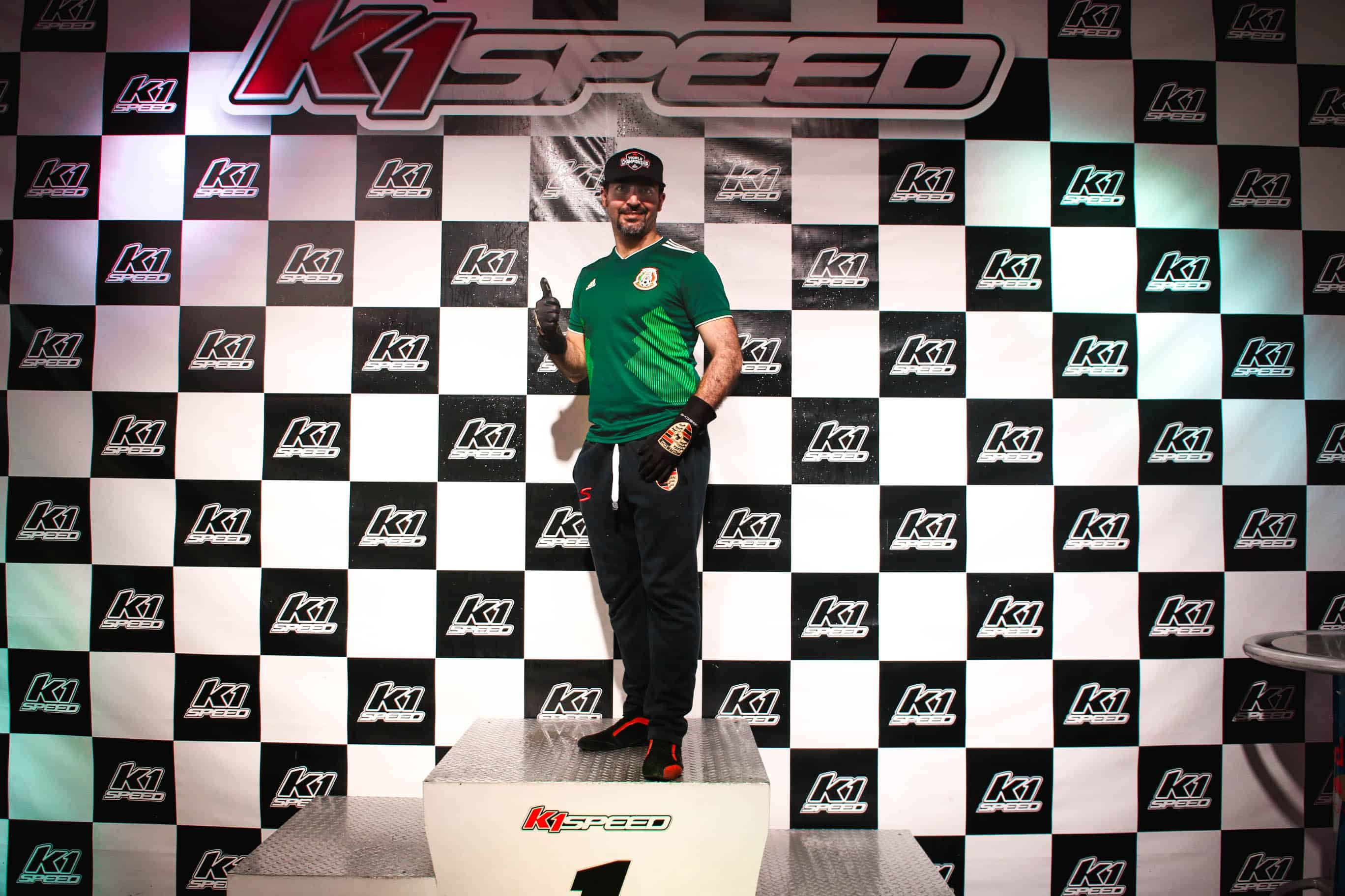 Mexico's Luis Enrique Peña Caballero stands on the podium during the K1 Speed World Championship
