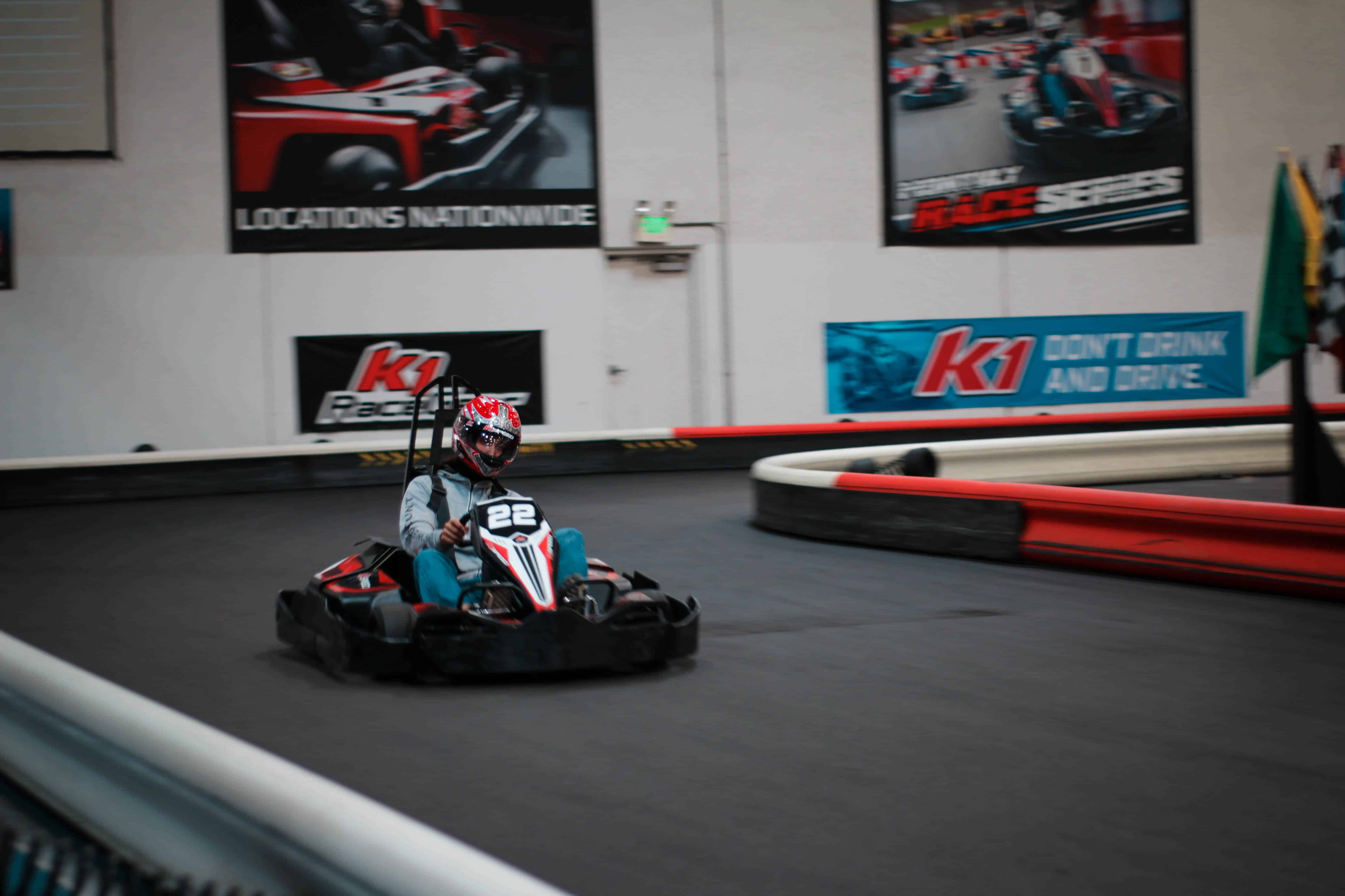 antonio arias races his kart during the k1 speed world championship