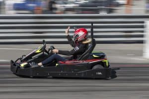 Susan Danglard races at the Grand Prix of Long Beach in a Go Kart