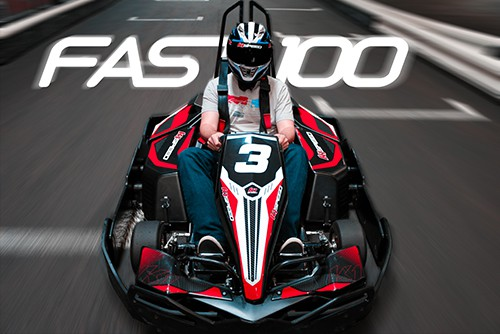 featured image for fast 100 with man in go kart