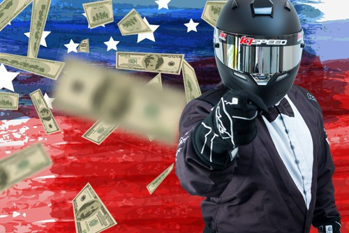 featured image with kae juan in tuxedo racing suit pointing while american flag and money is in background