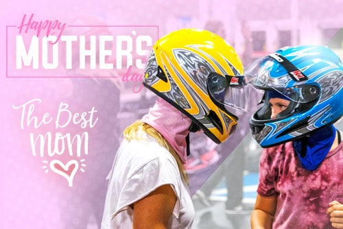 featured image for mother's day deal 2021 blog featuring a mom and daughter in helmets at k1