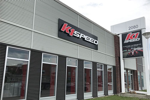 exterior shot of k1 speed montreal for the featured image for the blog