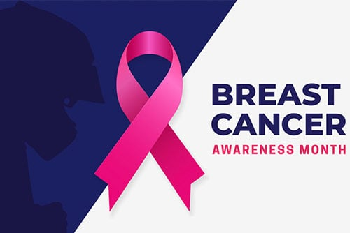 breast cancer awareness month featured image with pink ribbon and racer wearing helmet