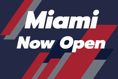 graphic with text reading miami now open
